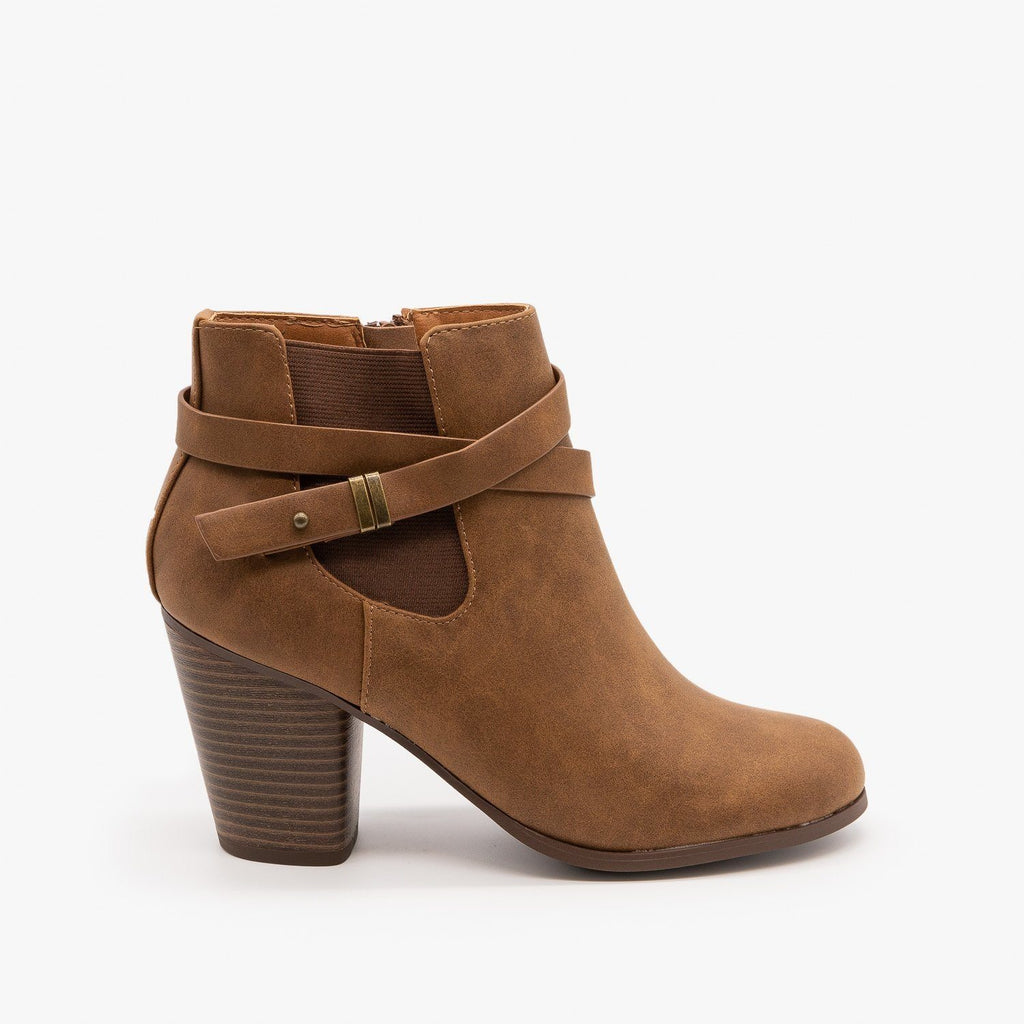 Womens Belted Ankle Booties - Soda Shoes - Tan / 5