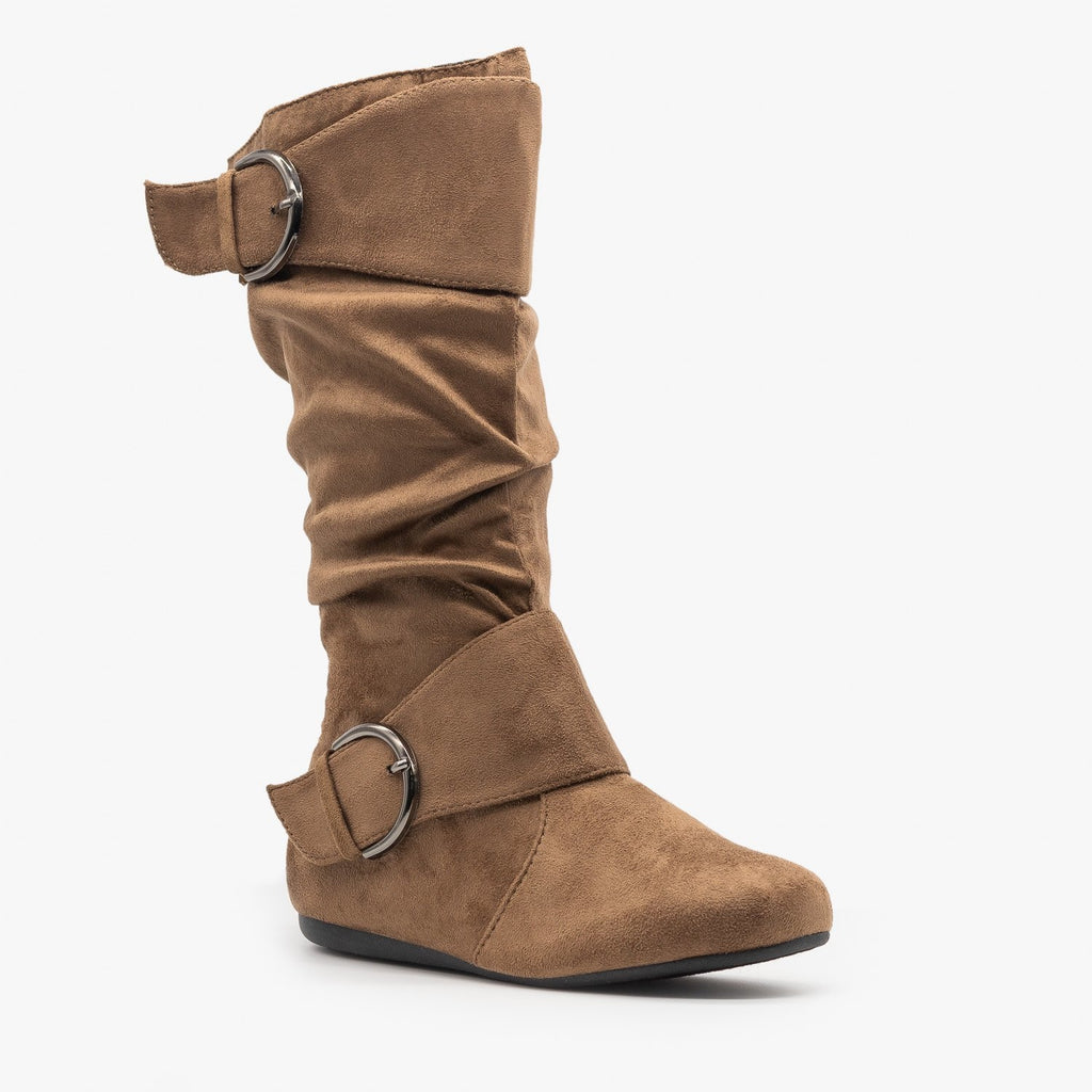 Womens Belted Buckle Boots - Forever