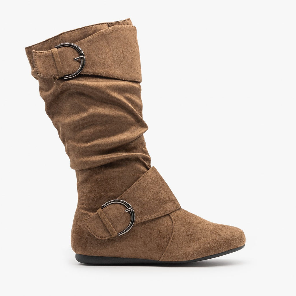 Womens Belted Buckle Boots - Forever - Taupe / 5