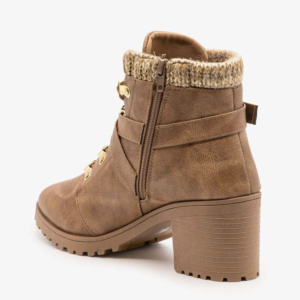 Womens Belted Chunky Heel Booties - Qupid Shoes