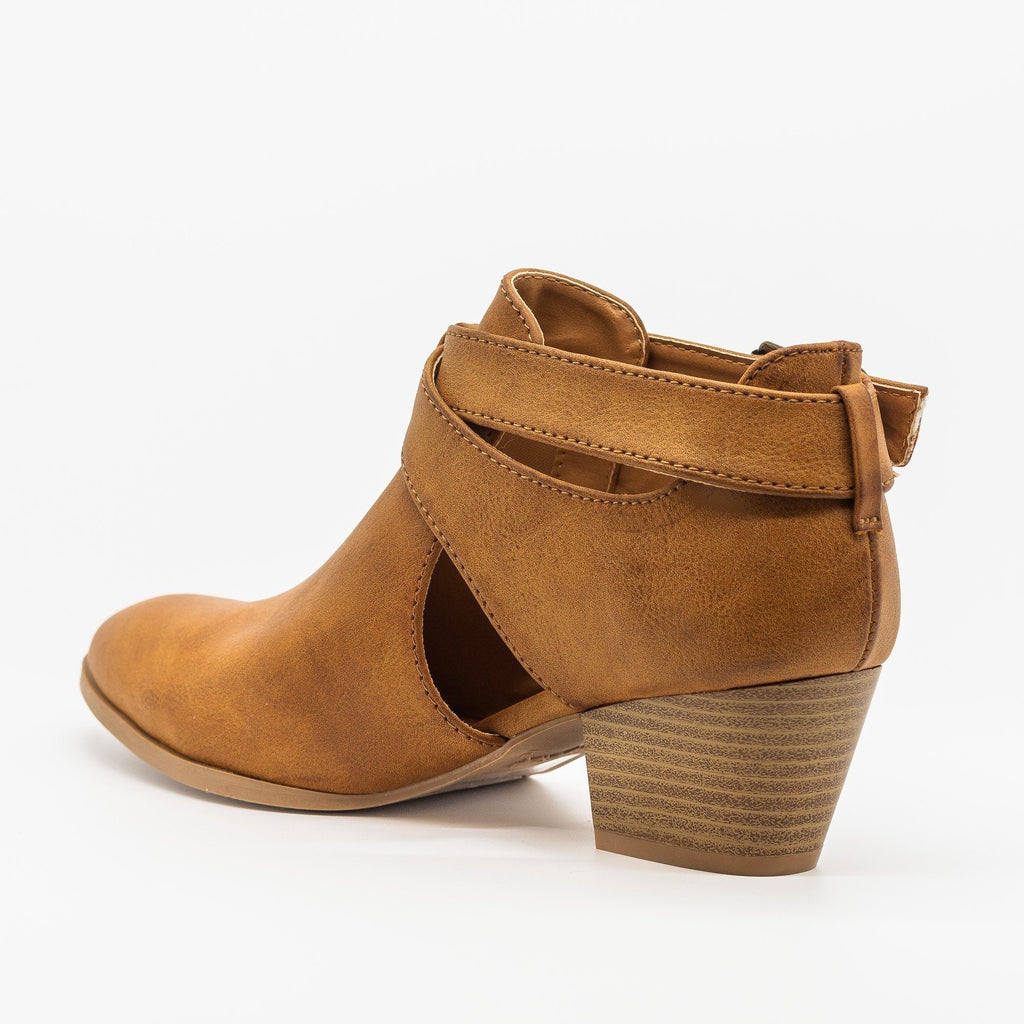 Womens Belted Criss Cross Ankle Booties - Qupid Shoes