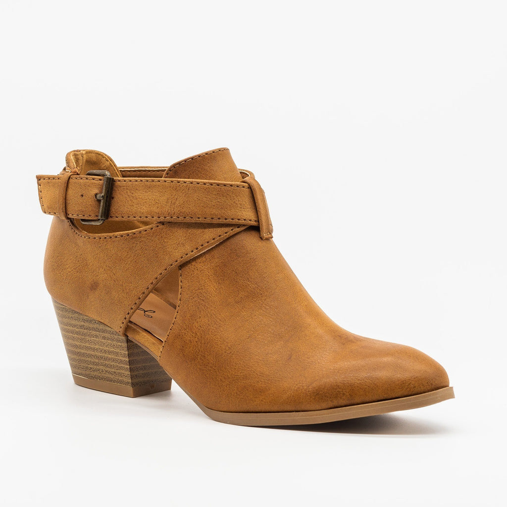 Womens Belted Criss Cross Ankle Booties - Qupid Shoes - Cognac / 5
