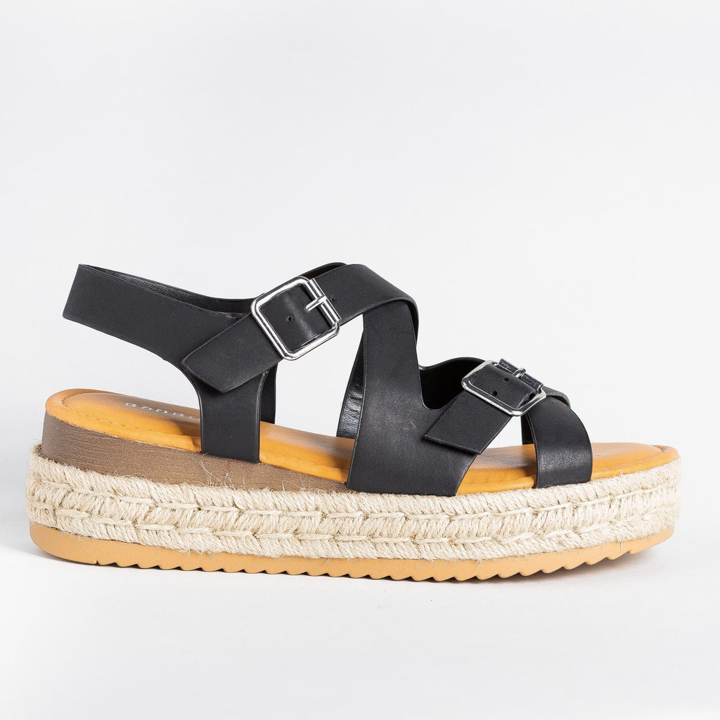 Womens Belted Criss Cross Espadrille Wedges - Bamboo Shoes - Black / 5