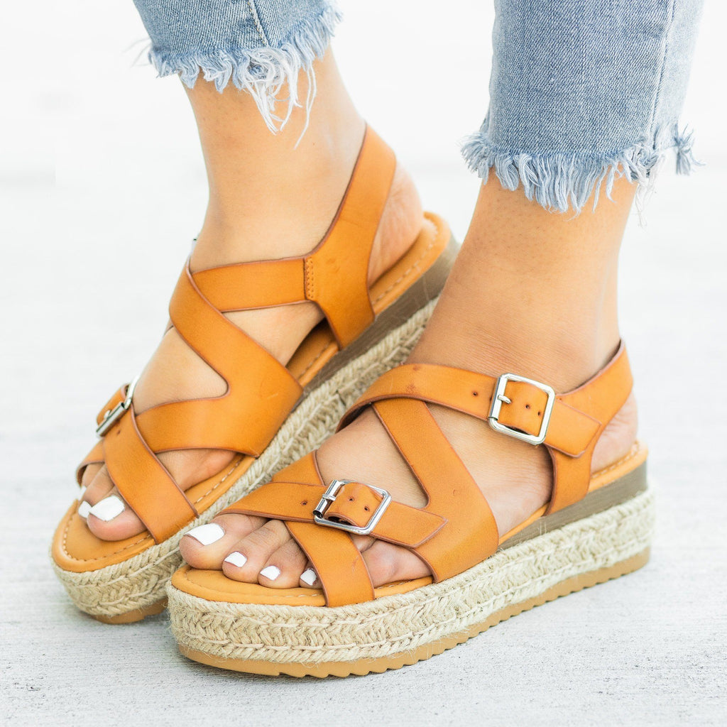 Womens Belted Criss Cross Espadrille Wedges - Bamboo Shoes