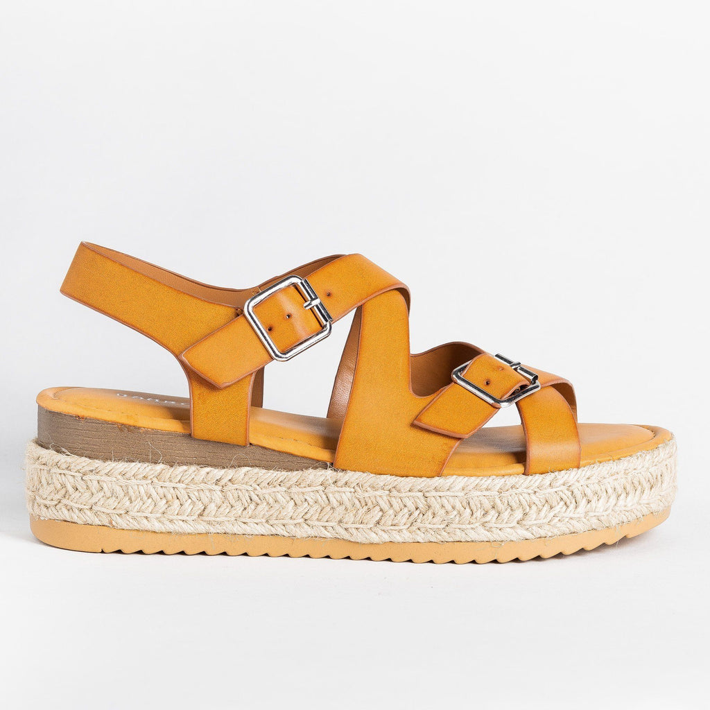 Womens Belted Criss Cross Espadrille Wedges - Bamboo Shoes - Tan / 5