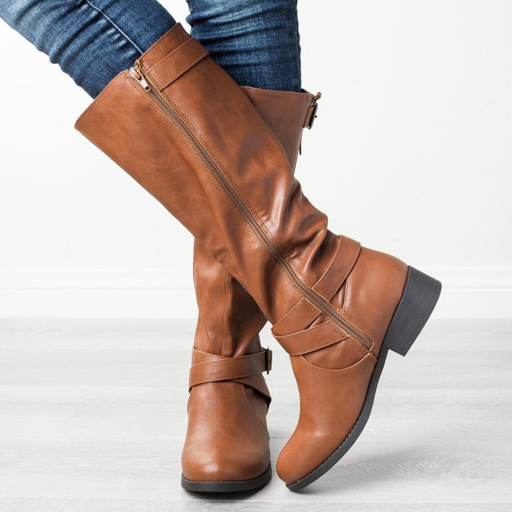 Womens Belted Criss Cross Riding Boots - Qupid Shoes