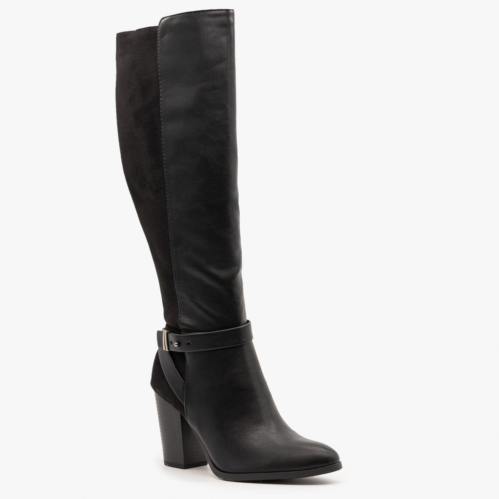 Womens Belted Knee High Fashion Boots - Delicious Shoes