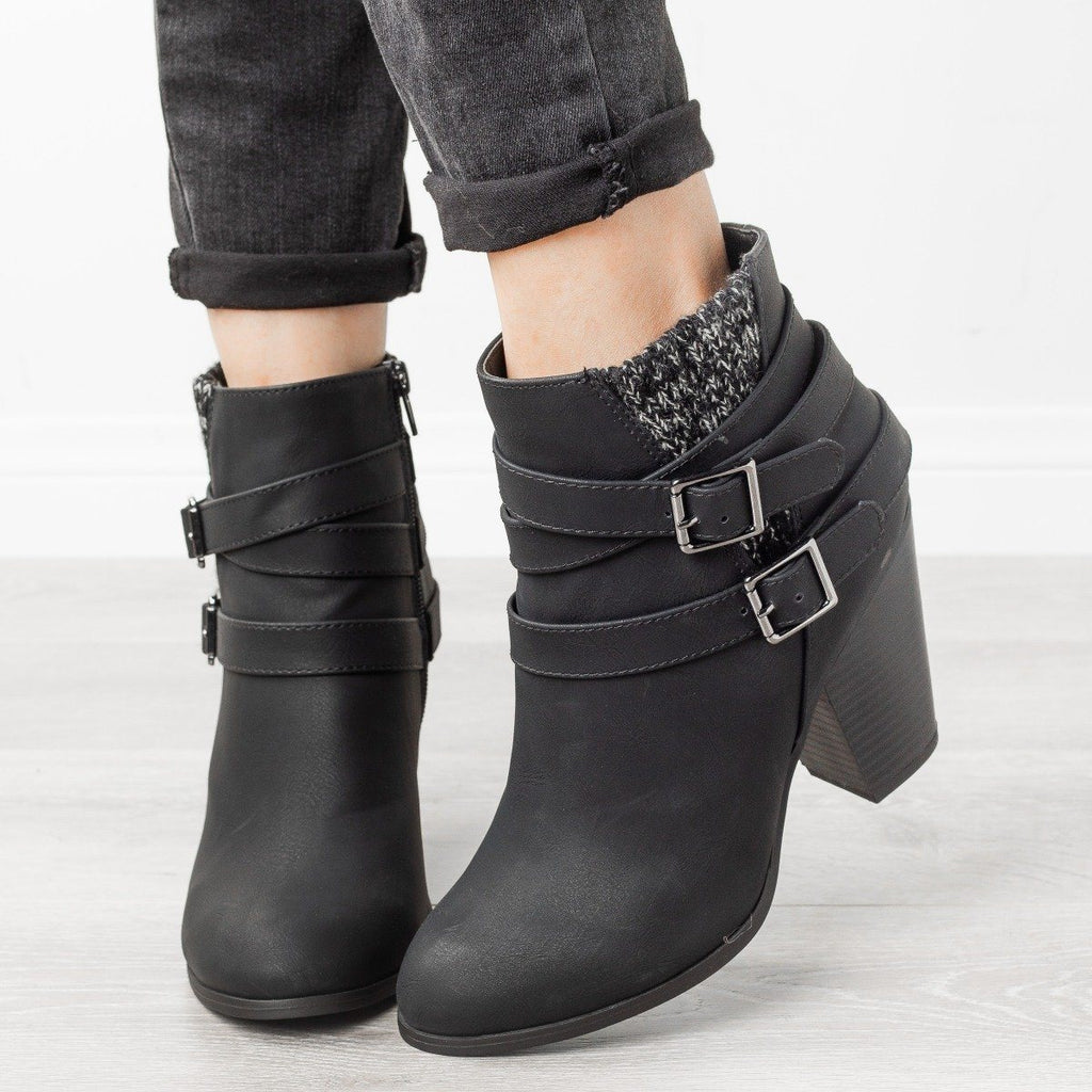 Womens Belted Knit Sweater Booties - Soda Shoes - Black / 5