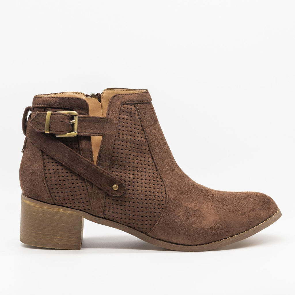 Womens Belted Pinhole Ankle Booties - AMS Shoes