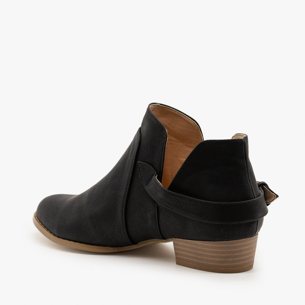 Womens Belted Side Cutout Booties - AMS Shoes
