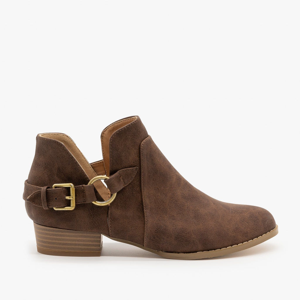 Womens Belted Side Cutout Booties - AMS Shoes - Mocha / 5
