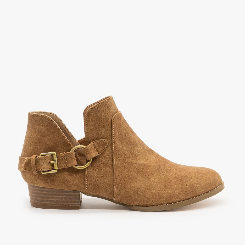Womens Belted Side Cutout Booties - AMS Shoes - Taupe / 5