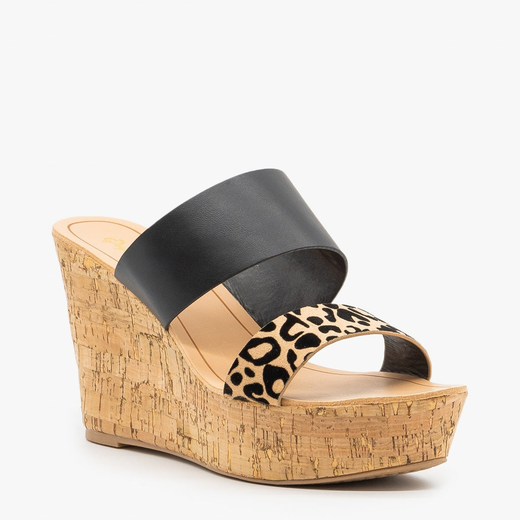 Womens Black Leopard Cork Wedges - Qupid Shoes