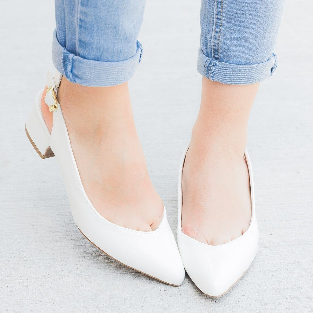 Womens Block Heel Slingbacks - Qupid Shoes