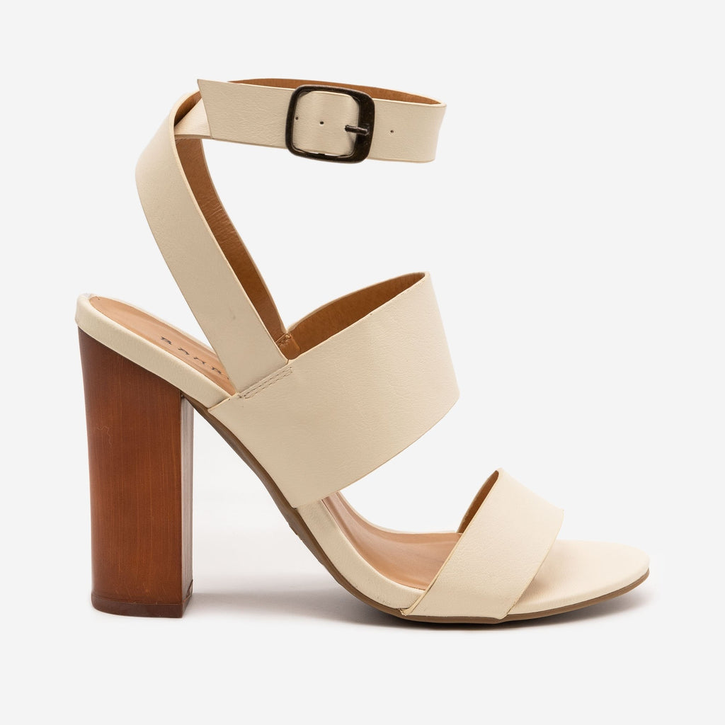 Women's Block High Heels - Bamboo - Ivory / 5