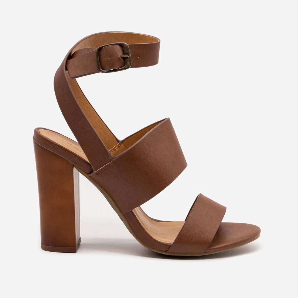 Women's Block High Heels - Bamboo - Chestnut / 5