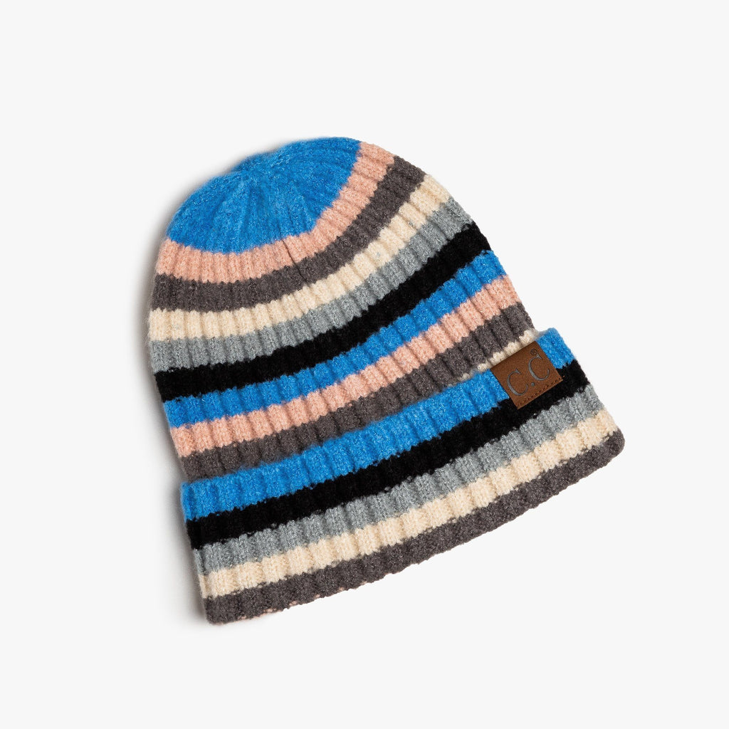 Womens Blue Multi-Striped Cuffed CC Beanie - Shoetopia - One Size / Denim
