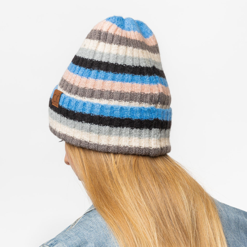 Womens Blue Multi-Striped Cuffed CC Beanie - Shoetopia