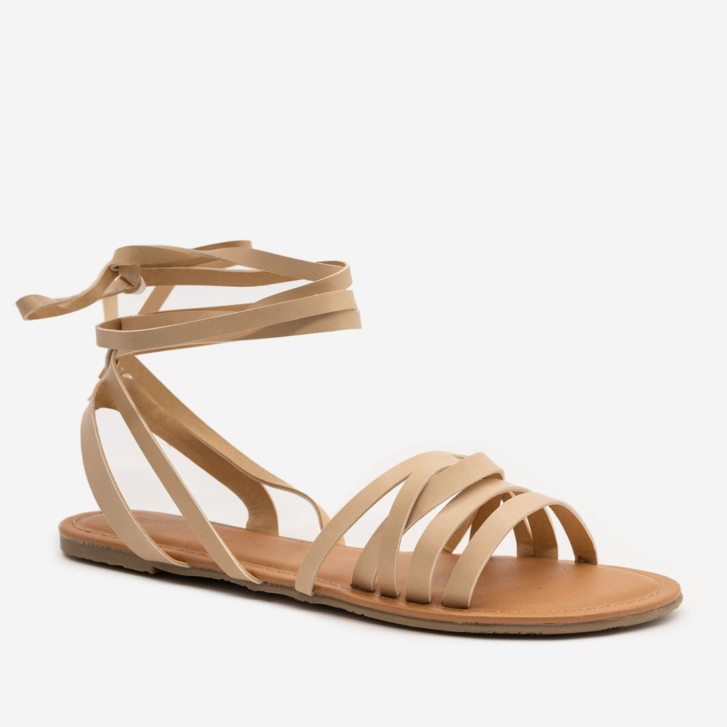 Women's Boho Ankle Tie Sandals - Wild Diva Shoes