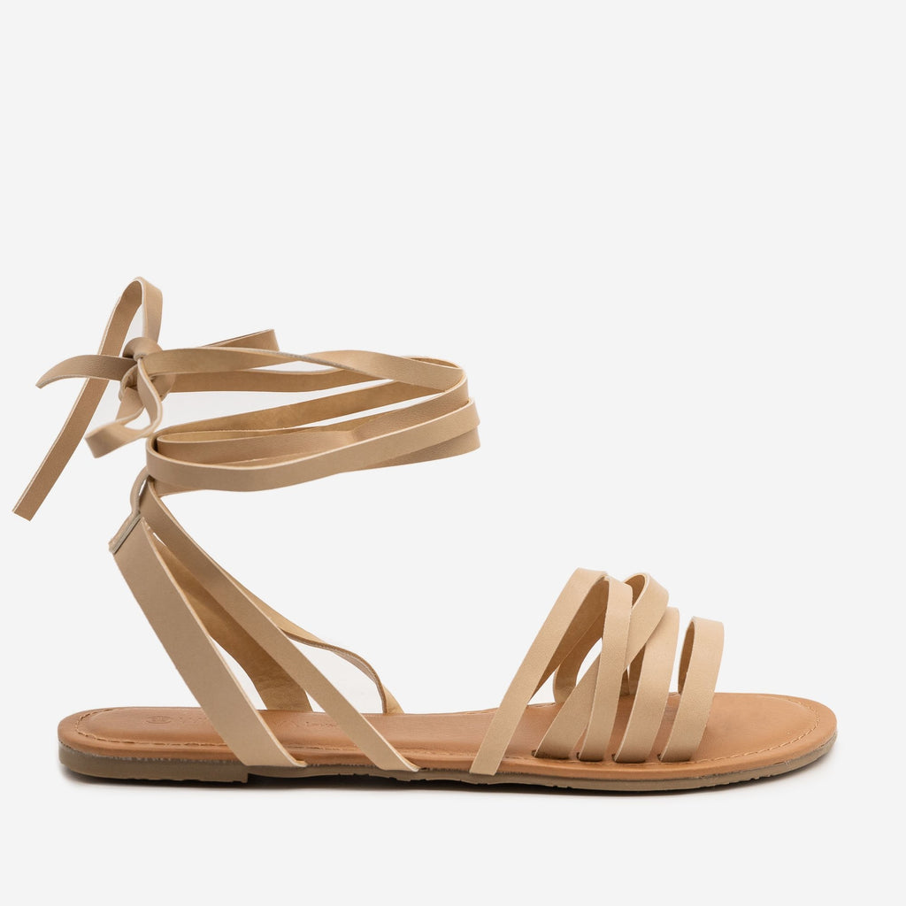 Women's Boho Ankle Tie Sandals - Wild Diva Shoes - Natural / 5