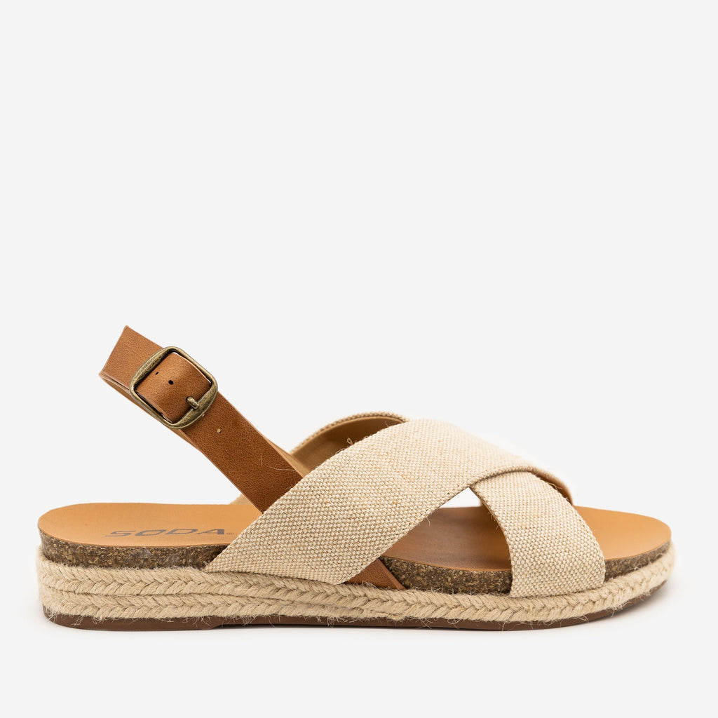 Women's Boho Crossover Canvas Sandals - Soda Shoes - Beige / 5