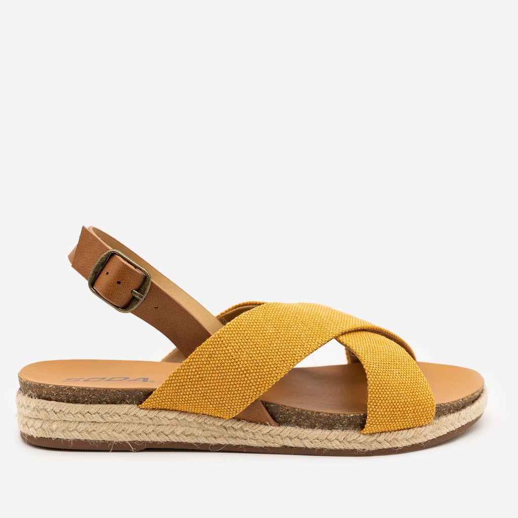Women's Boho Crossover Canvas Sandals - Soda Shoes - Yellow / 5