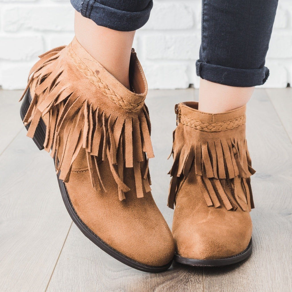 Womens Boho Fringe Ankle Booties - Refresh
