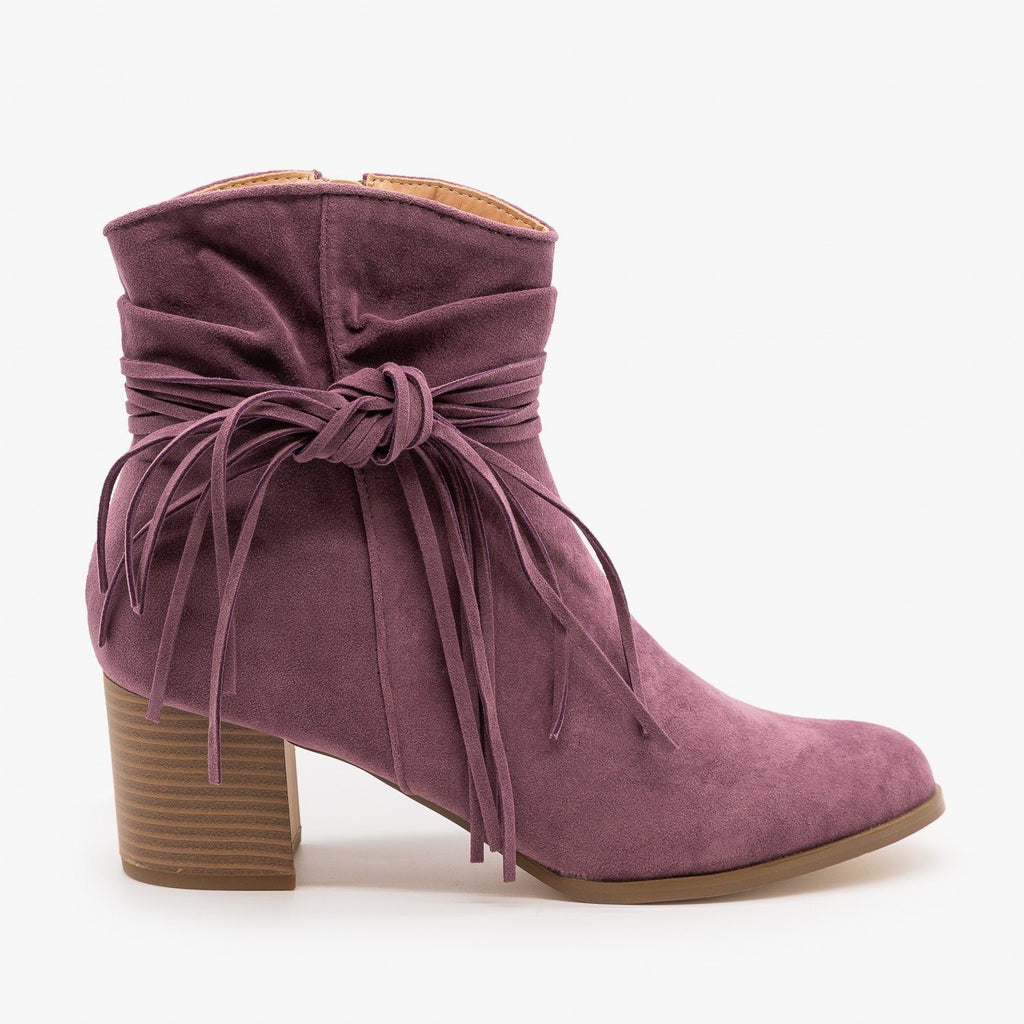 Womens Boho Fringe Fashion Booties - AMS Shoes - Violet / 5