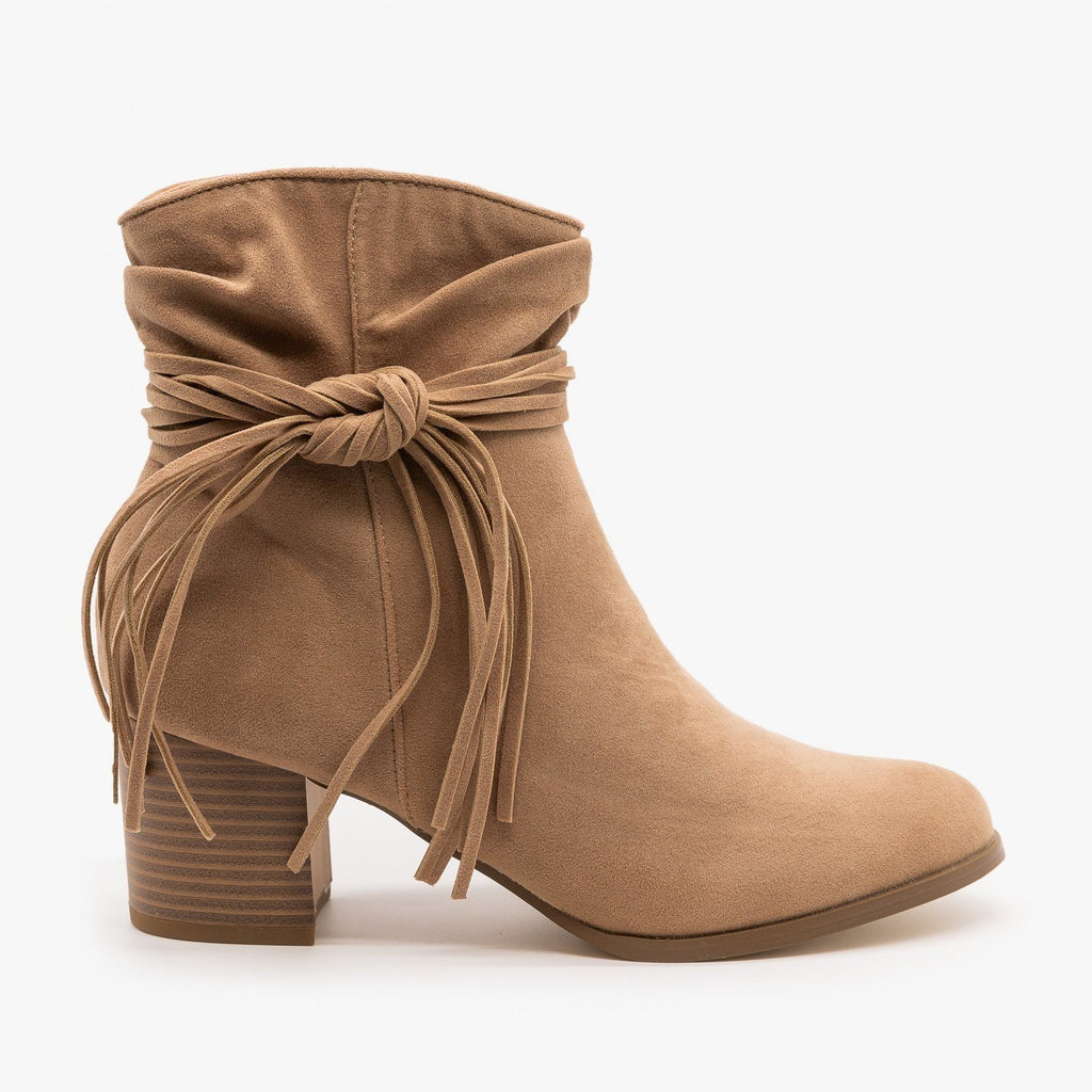 Womens Boho Fringe Fashion Booties - AMS Shoes - Taupe / 5