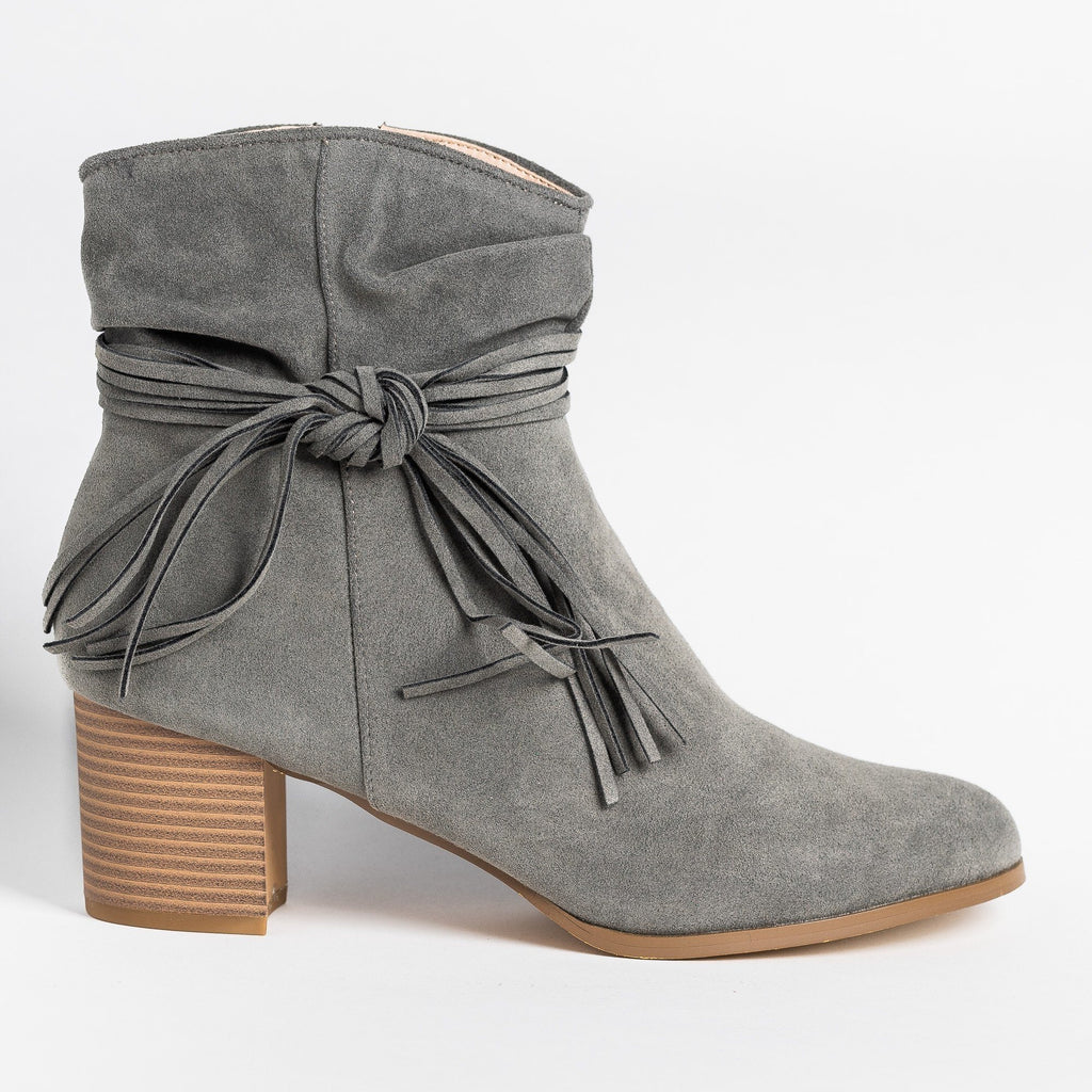 Womens Boho Fringe Fashion Booties - AMS Shoes - Gray / 5