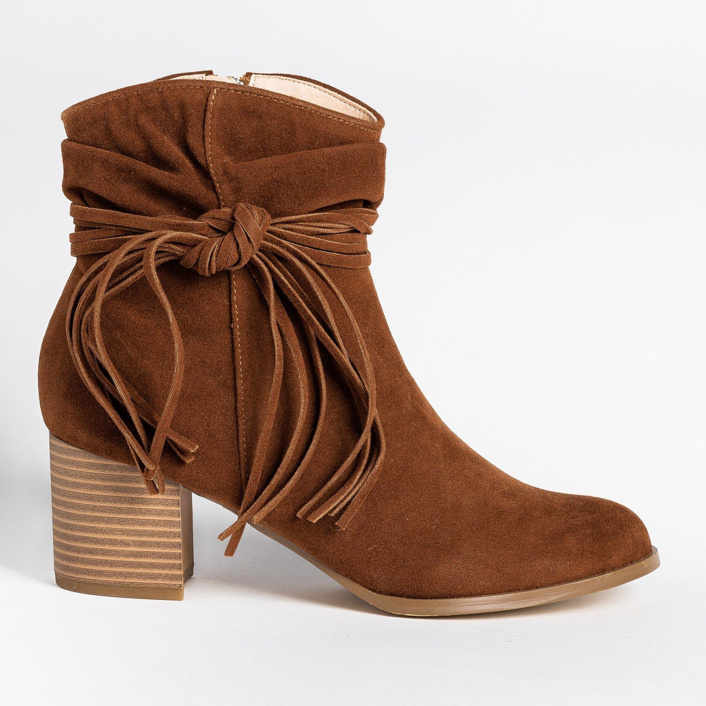 Womens Boho Fringe Fashion Booties - AMS Shoes - Mocha / 5