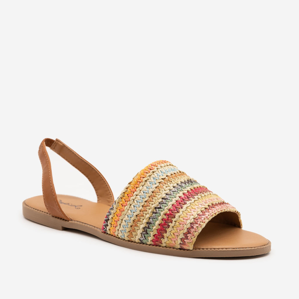 Women's Boho Knit Slingback Flats - Qupid Shoes