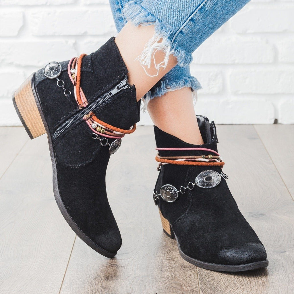 Womens Boho Ornamented Ankle Booties - Qupid Shoes