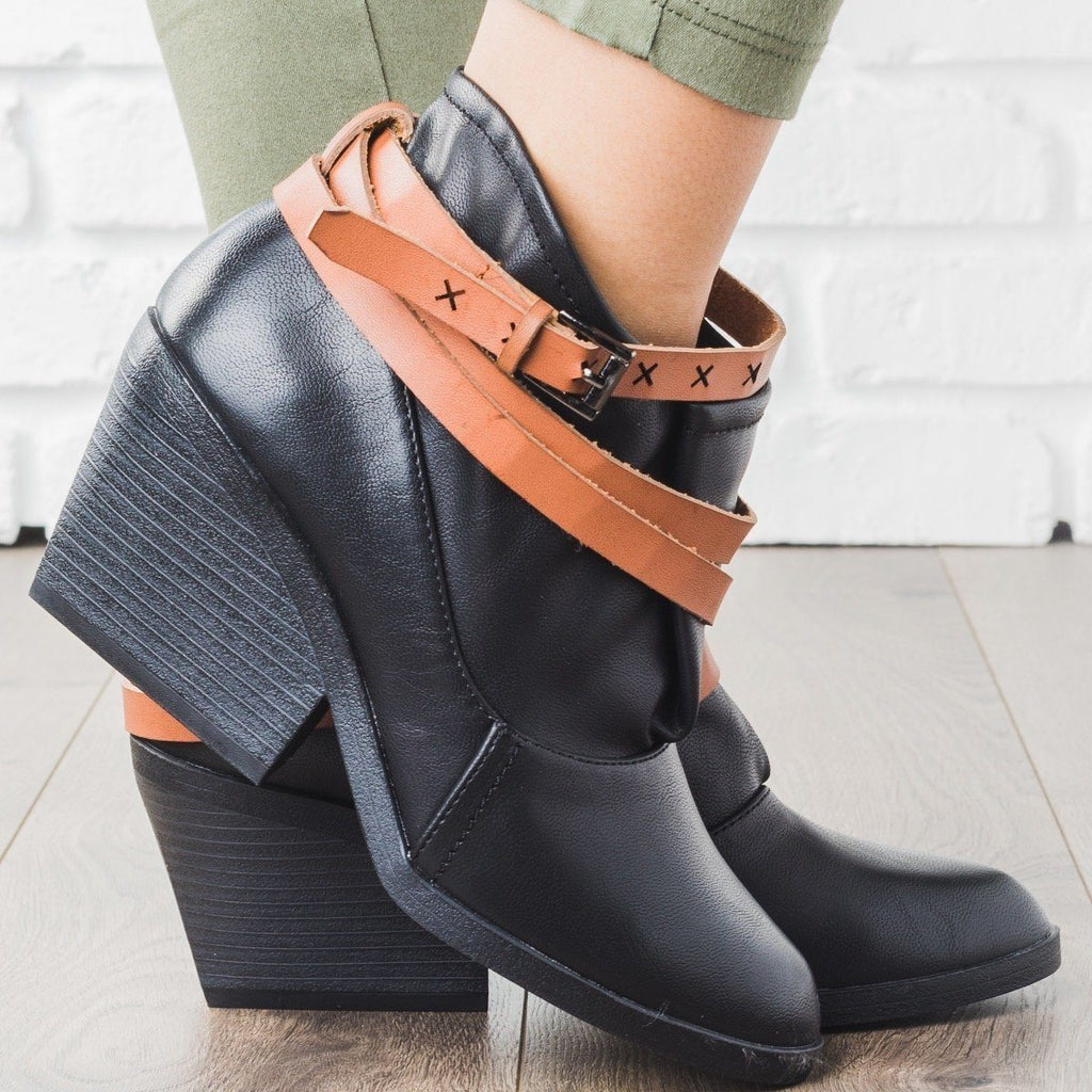 Womens Boho Oversized Top Bootie - Qupid Shoes