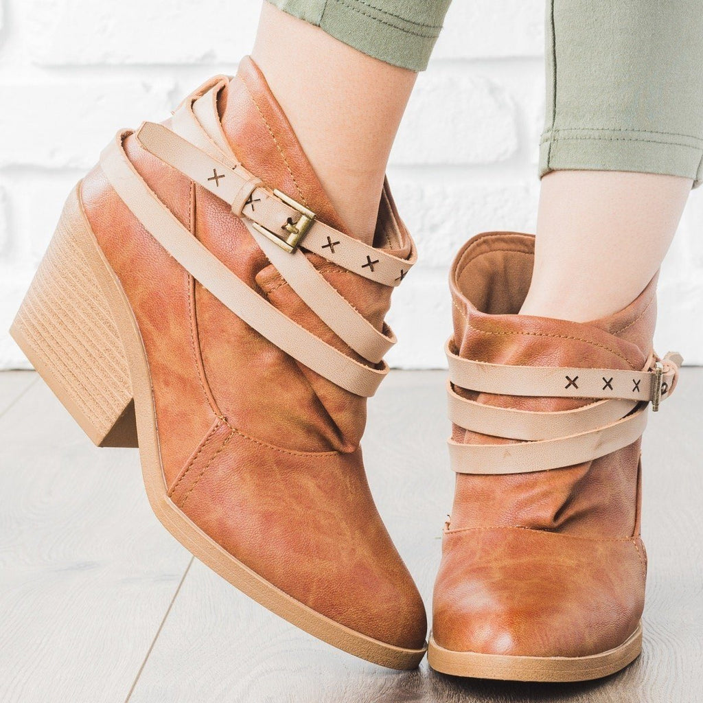 Womens Boho Oversized Top Bootie - Qupid Shoes - Camel / 5