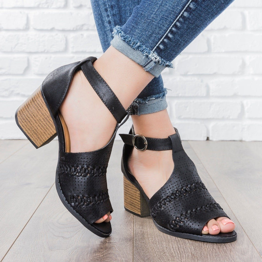 Womens Boho Summer Heels - Qupid Shoes - Black / 5