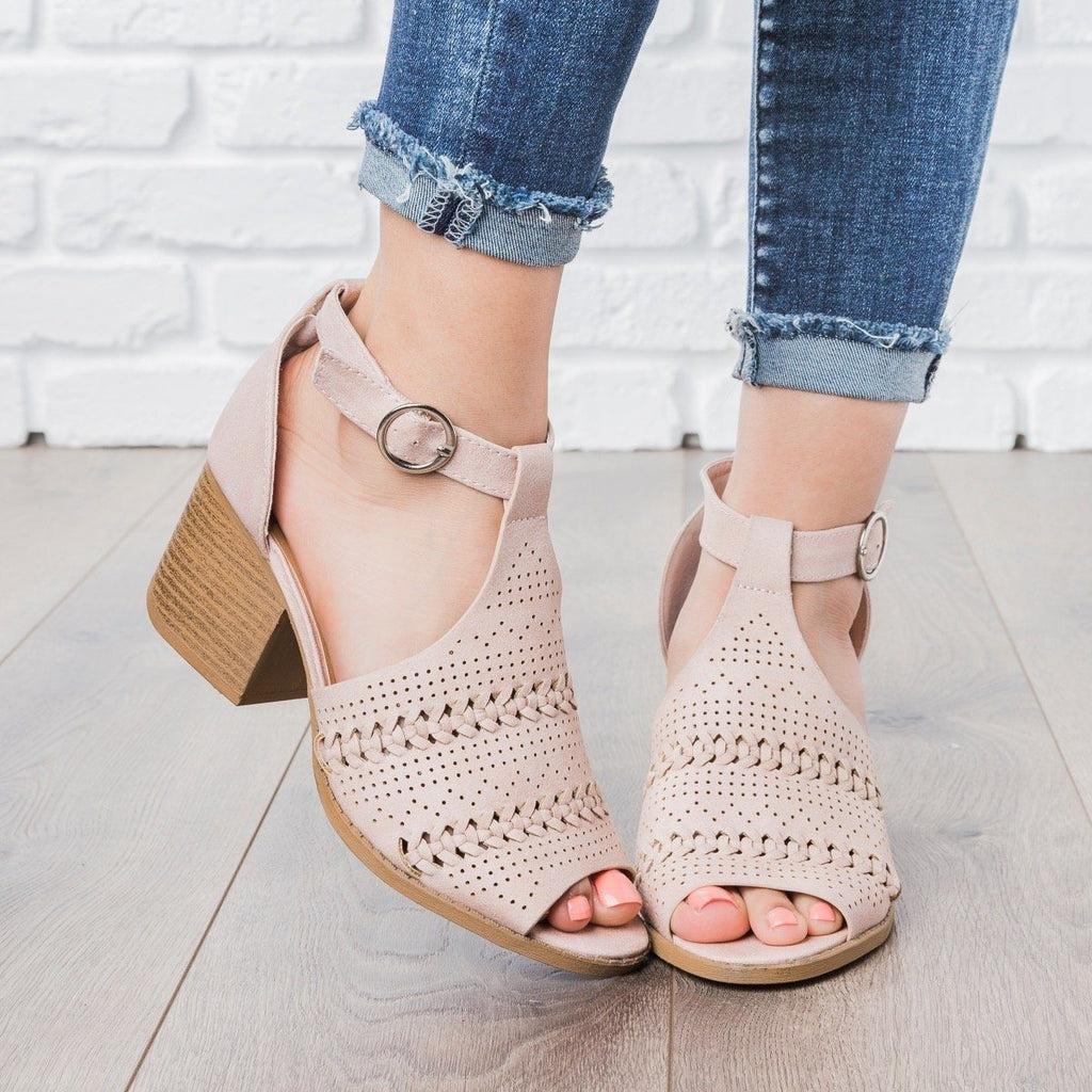 Womens Boho Summer Heels - Qupid Shoes - Nude / 5