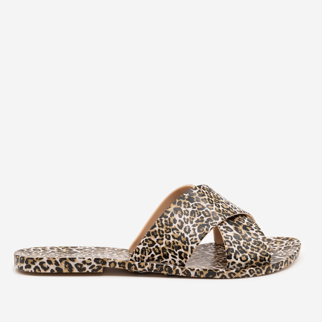 Women's Bold Leopard Print Sandals - Qupid Shoes - Camel Leopard / 5