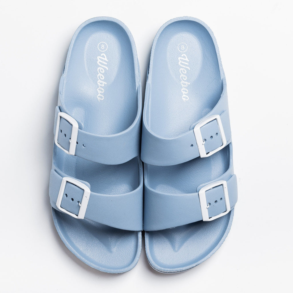 Womens Bold Buckle Slides - Weeboo - Sky Blue / 5