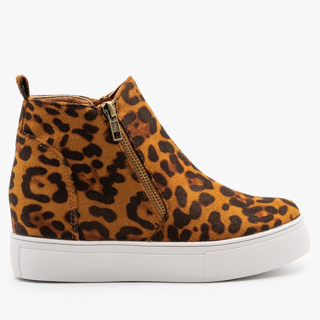 Womens Bold Leopard Sneaker Wedges - Nature Breeze - Brown Leopard / 5