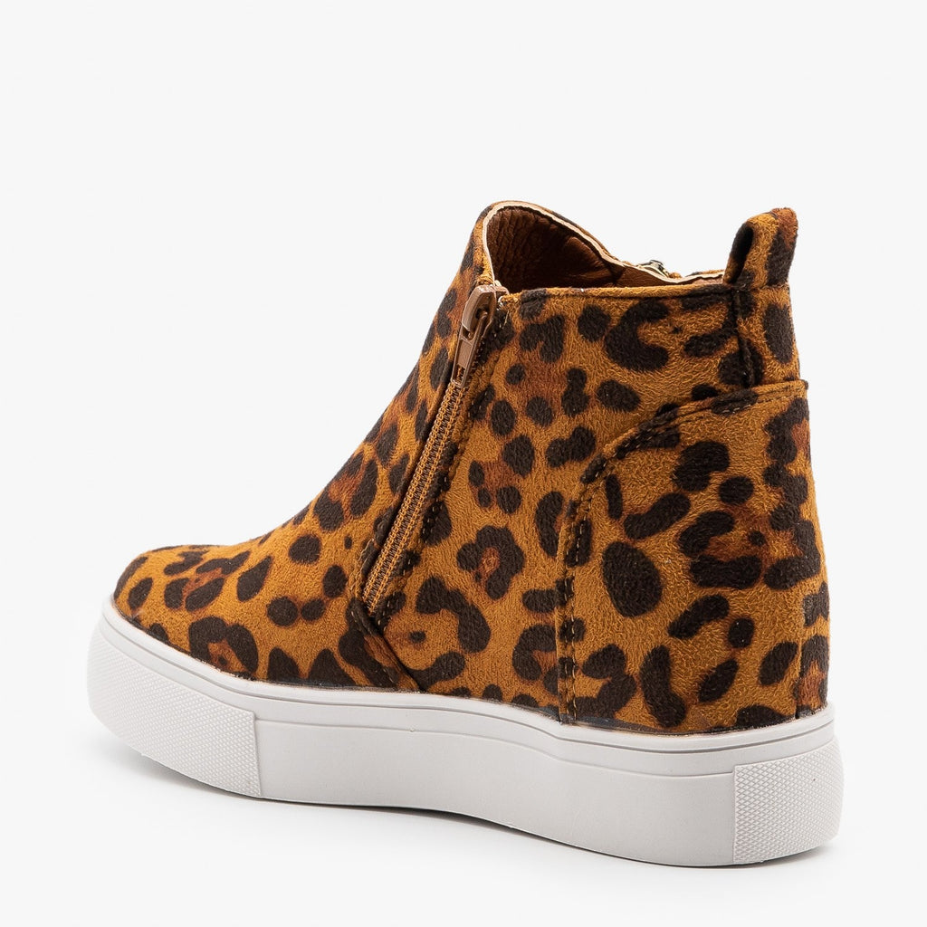 Womens Bold Leopard Sneaker Wedges - Nature Breeze