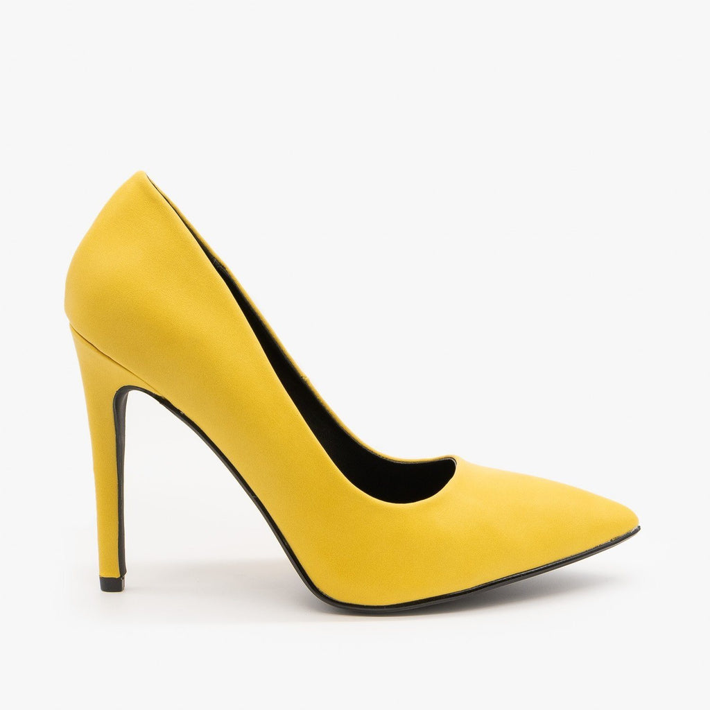 Womens Bold Stiletto Heels - Delicious Shoes - Yellow / 5