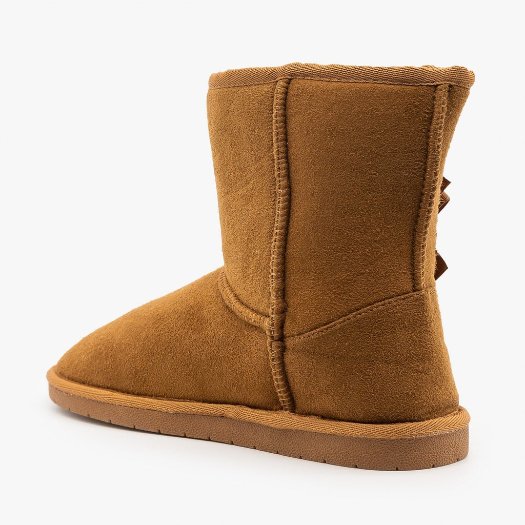 Womens Bow Accent Comfort Booties - Forever