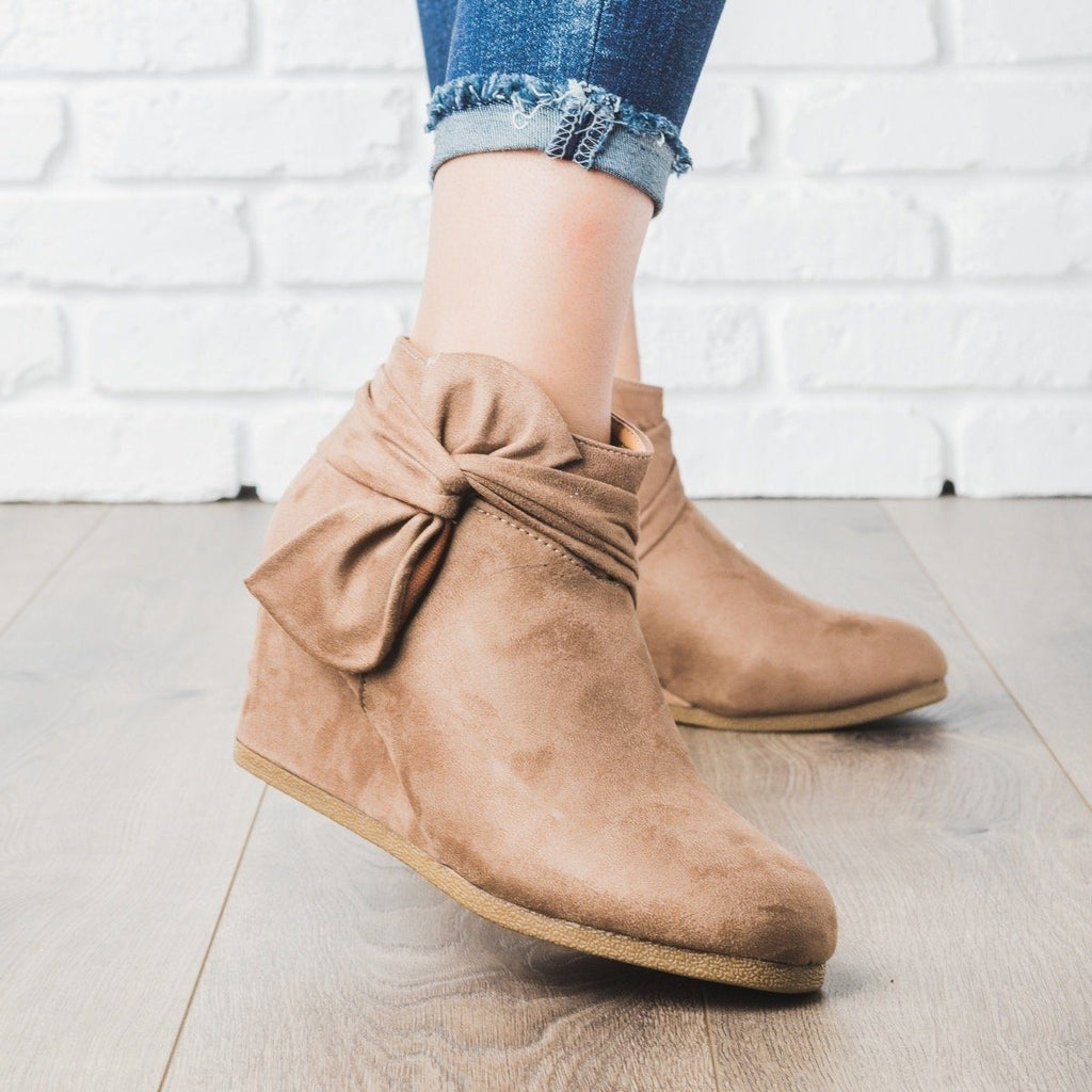 Womens Bow Bootie Wedges - Bamboo Shoes
