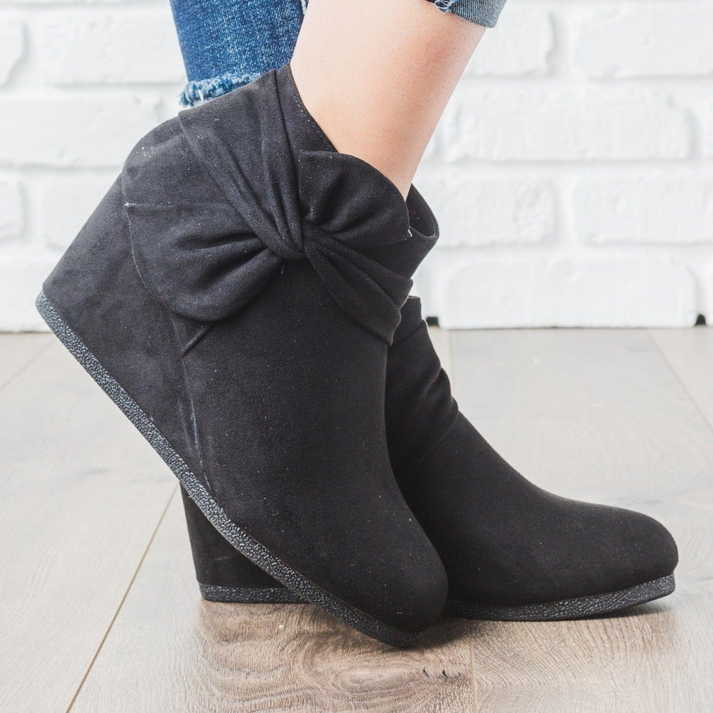Womens Bow Bootie Wedges - Bamboo Shoes - Black / 5.5