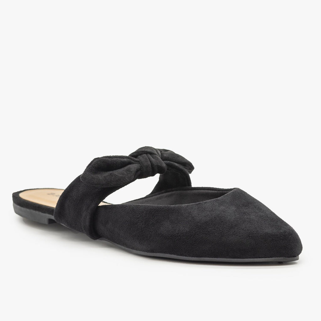 Womens Bow Tie Cutout Mules - Bamboo Shoes - Black / 5