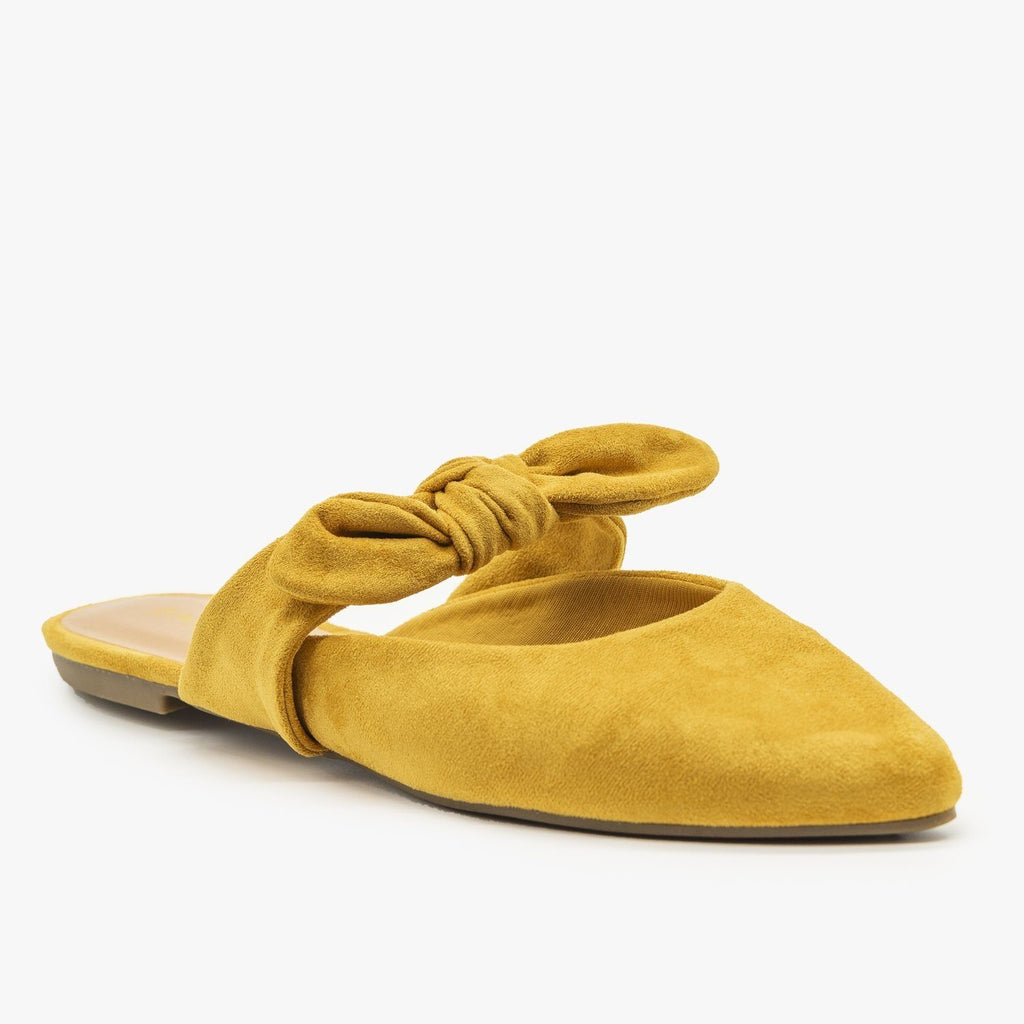 Womens Bow Tie Cutout Mules - Bamboo Shoes - Mustard / 5