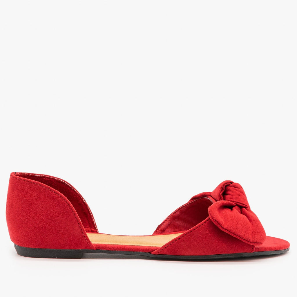 Womens Bow Tie Peep Toe dOrsay Flats - Bamboo Shoes - Red / 5