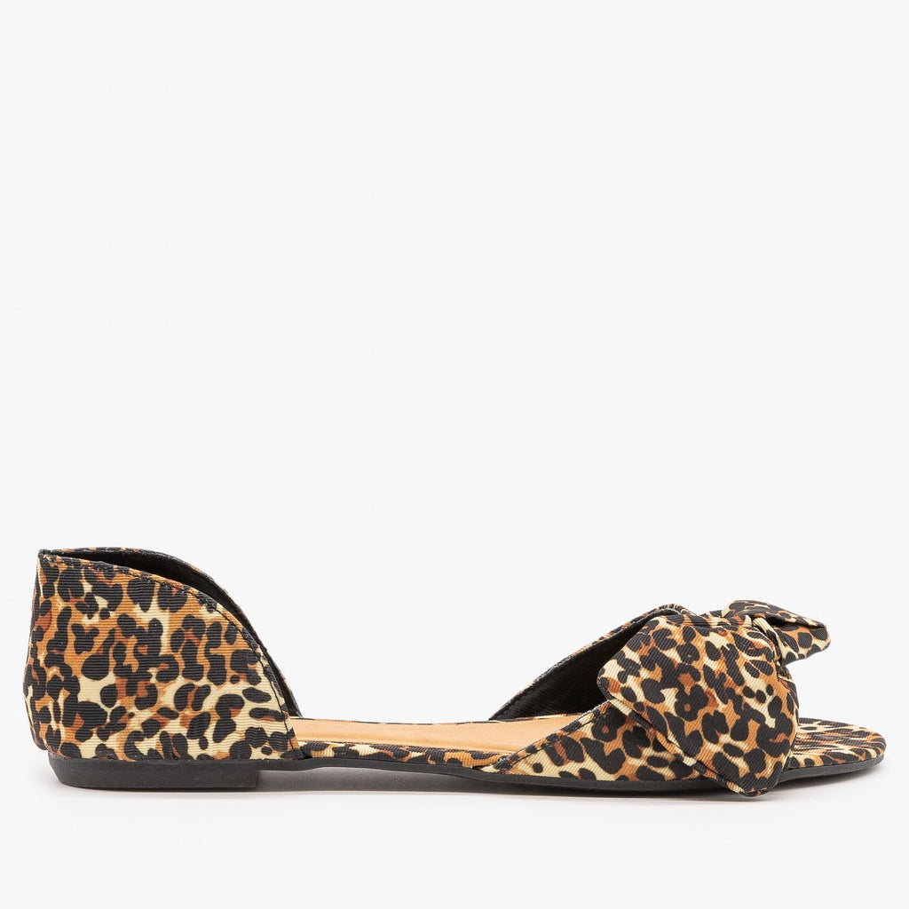 Womens Bow Tie Peep Toe dOrsay Flats - Bamboo Shoes - Leopard / 5