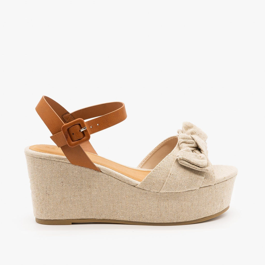 Womens Bow Tie Platform Wedges - Bamboo Shoes - Natural / 5
